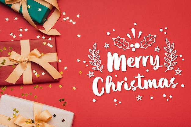 Wesołych świąt Bożego Narodzenia Napis Na Zdjęciu świątecznym Darmowych Wektorów