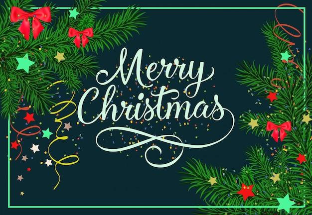 Wesołych świąt Bożego Narodzenia Napis Z Gałązek Jodły Darmowych Wektorów