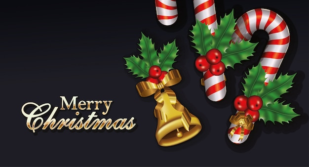 Wesołych świąt bożego narodzenia napisy z liści i słodkich pędów Premium Wektorów