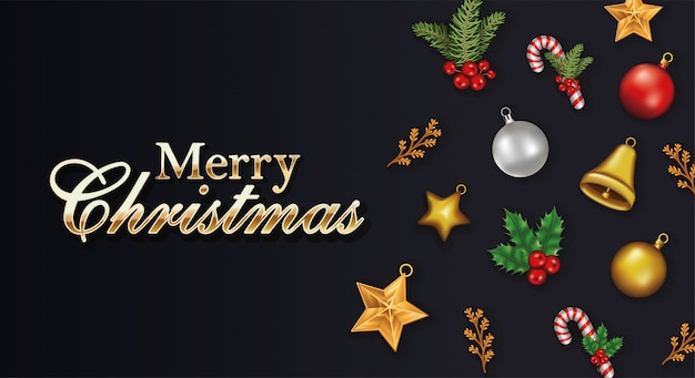 Wesołych świąt bożego narodzenia napisy z zestawu ikon Premium Wektorów