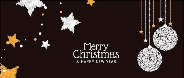 Wesołych świąt Bożego Narodzenia Ozdobny świąteczny Projekt Transparentu Darmowych Wektorów
