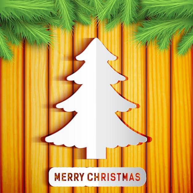 Wesołych świąt Bożego Narodzenia Ozdobny Szablon Z Papierowymi Gałązkami Jodły Na Drewnie Darmowych Wektorów