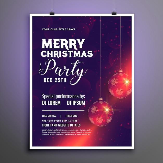 Wesołych świąt bożego narodzenia party szablon ulotki uroczystości Darmowych Wektorów
