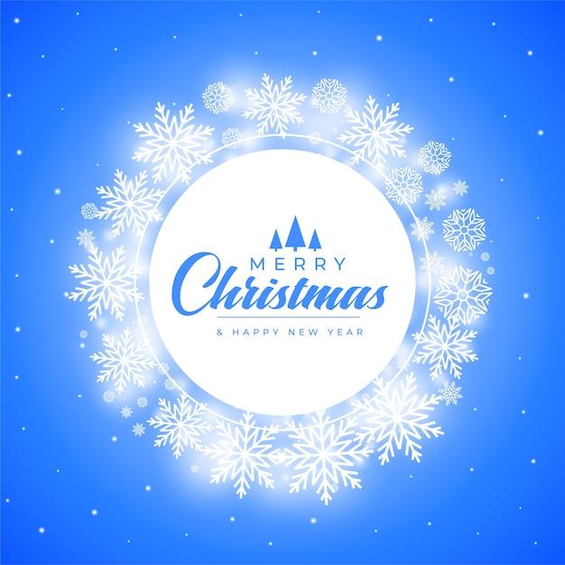 Wesołych świąt Bożego Narodzenia Płatki śniegu Dekoracyjne Tło Ramki Darmowych Wektorów