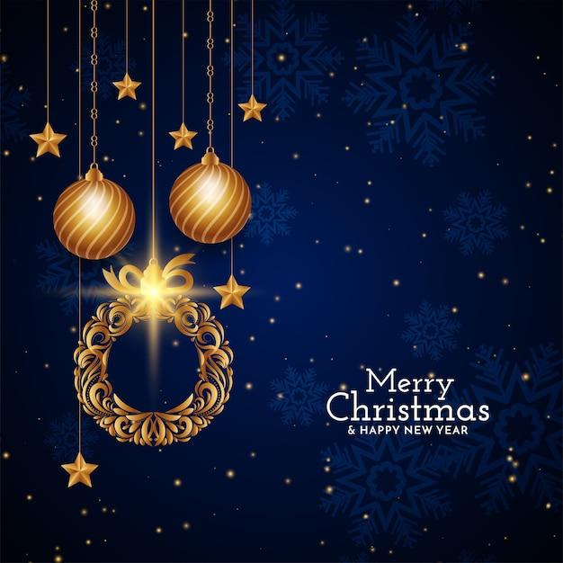Wesołych świąt Bożego Narodzenia Projekt Dekoracyjny Niebieski Tło Darmowych Wektorów