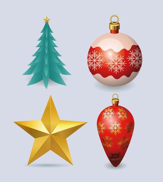 Wesołych świąt Bożego Narodzenia Projekt Gwiazdy I Sosny Premium Wektorów
