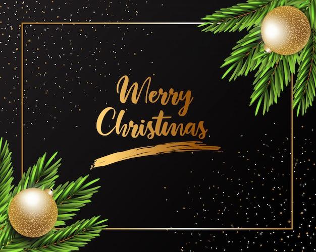 Wesołych świąt bożego narodzenia projekt karty z pozdrowieniami ze złotym napisem Premium Wektorów
