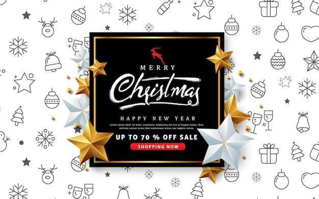 Wesołych świąt Bożego Narodzenia Sprzedaż Banner Ze Srebrną I Złotą Gwiazdą. Premium Wektorów