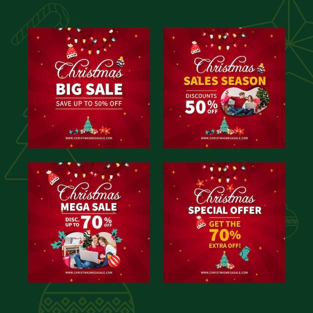 Wesołych świąt Bożego Narodzenia Sprzedaż Szablon Postu Na Instagramie Premium Wektorów