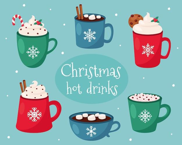 Wesołych świąt Bożego Narodzenia. świąteczna Kolekcja Gorących Napojów. Premium Wektorów