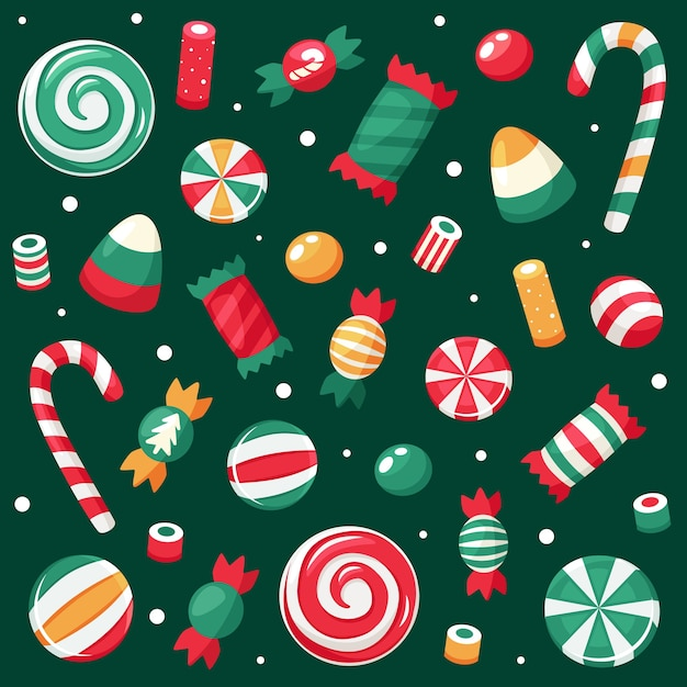 Wesołych świąt Bożego Narodzenia. świąteczna Kolekcja Słodyczy I Cukierków. Premium Wektorów