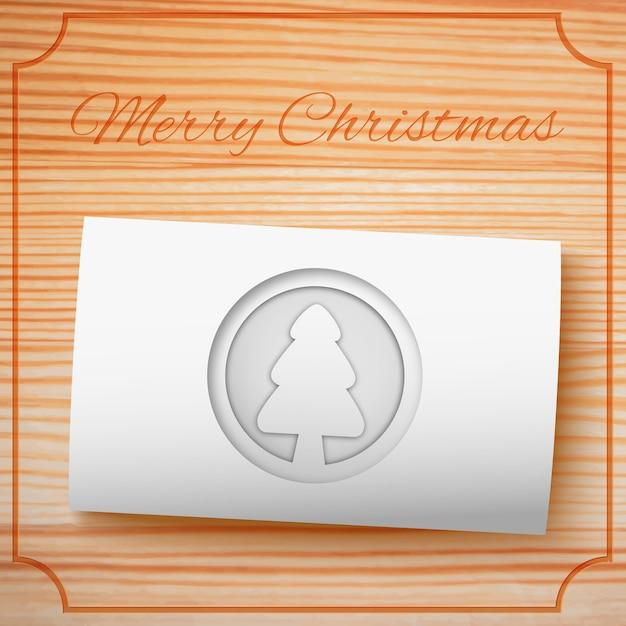 Wesołych świąt Bożego Narodzenia Szablon Zaproszenia Z Jodły Biały Karton Na Drewnie Premium Wektorów