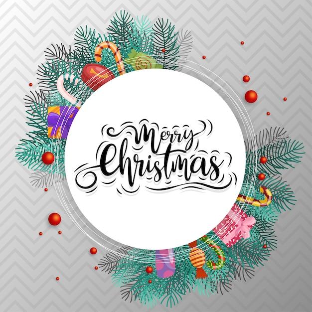 Wesołych świąt Bożego Narodzenia Tekst W Kółku Z Cukierkami, Pudełkiem I Liśćmi Darmowych Wektorów