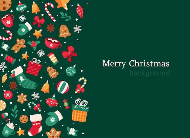 Wesołych świąt Bożego Narodzenia Tło. Kolekcja Elementów świątecznych. Premium Wektorów