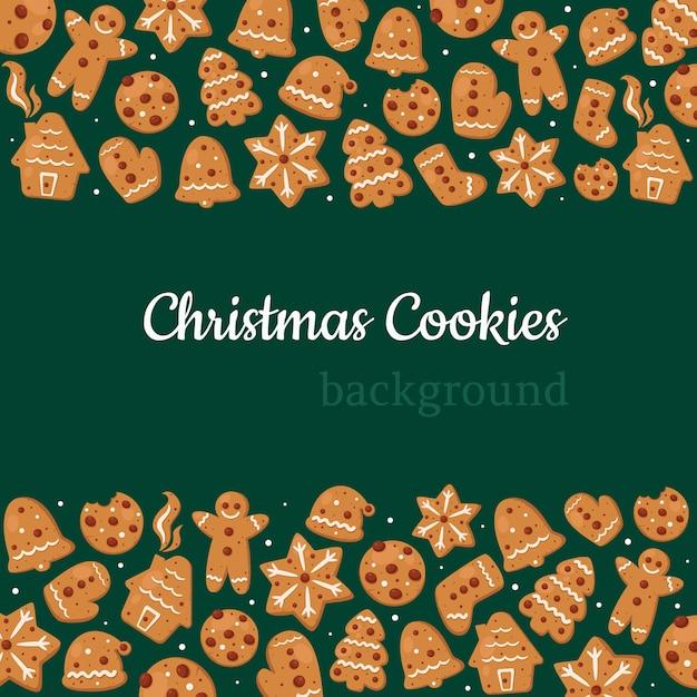 Wesołych świąt Bożego Narodzenia Tło. Kolekcja świątecznych Ciasteczek. Premium Wektorów