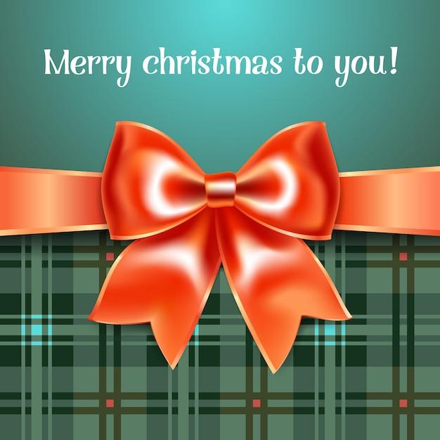 Wesołych świąt Bożego Narodzenia Tło Z Czerwoną Wstążką łuk, 10eps Premium Wektorów