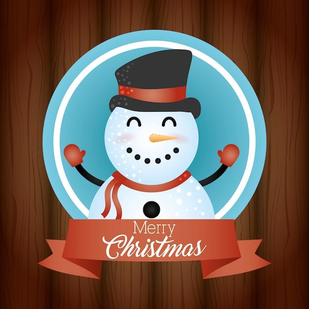 Wesołych świąt bożego narodzenia tło z ładny charakter bałwana Darmowych Wektorów