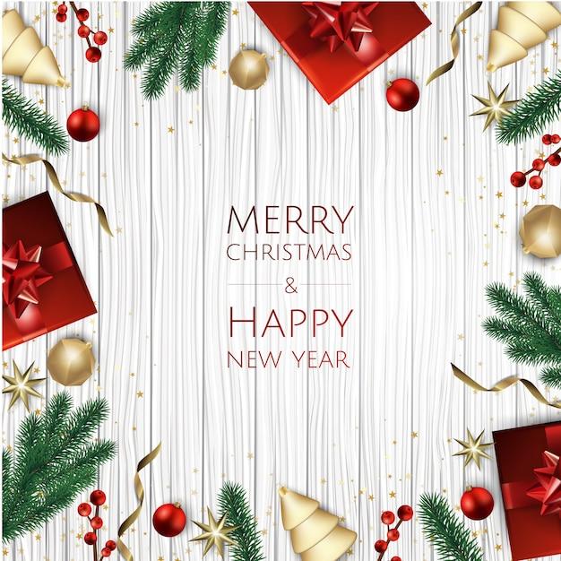 Wesołych świąt bożego narodzenia tło z pudełko, płatki śniegu i kulki. Premium Wektorów