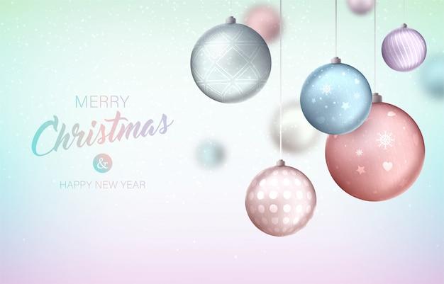 Wesołych świąt Bożego Narodzenia Tło Z Wiszące Bombki Premium Wektorów