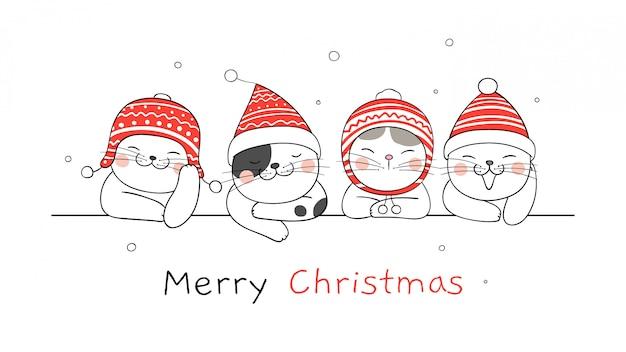 Wesołych świąt bożego narodzenia transparent z kotami Premium Wektorów