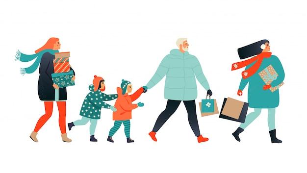Wesołych świąt Bożego Narodzenia Transparent Z Ludźmi Chodzącymi I Niosącymi Prezenty. Premium Wektorów