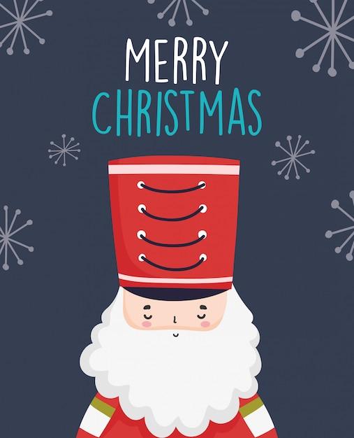 Wesołych świąt Bożego Narodzenia Uroczy żołnierz Dziadek Do Orzechów Z Kapeluszem Premium Wektorów