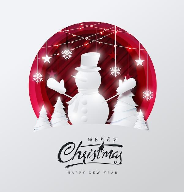 Wesołych świąt Bożego Narodzenia W Tle Ozdobione Bałwana W Lesie I Stylu Cięcia Papieru Gwiazdy. Premium Wektorów