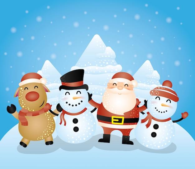 Wesołych świąt Bożego Narodzenia Z Grupą Znaków Darmowych Wektorów
