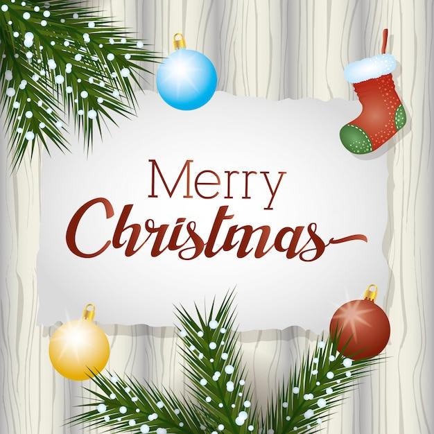 Wesołych świąt Bożego Narodzenia Z Wieniec Girlandy I Dekoracji Kulki Darmowych Wektorów