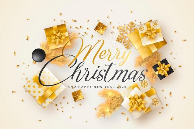 Wesołych świąt bożego narodzenia z złote i czarne prezenty Darmowych Wektorów