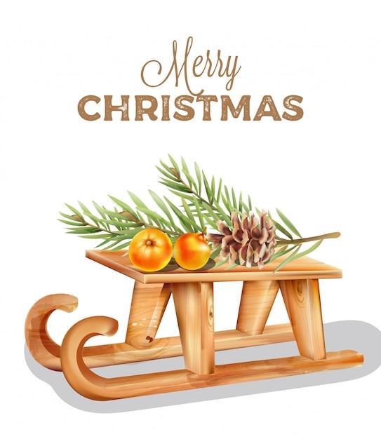 Wesołych świąt drewniane sanie z pomarańczowymi owocami na górze Premium Wektorów