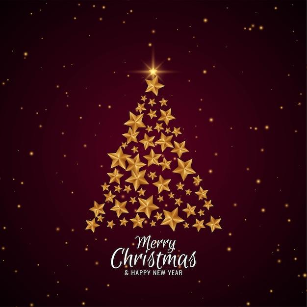 Wesołych świąt eleganckie piękne drzewo gwiazdy Darmowych Wektorów
