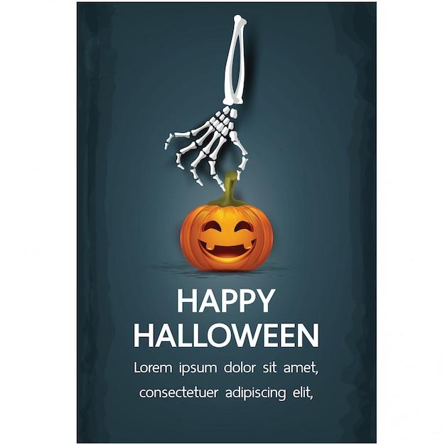 Wesołych świąt halloween z napisem Premium Wektorów