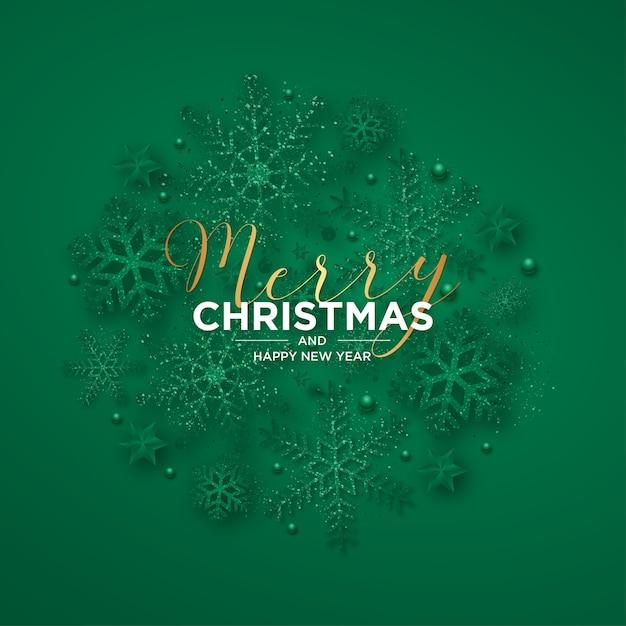 Wesołych świąt I Nowego Roku Z Realistycznymi Płatkami śniegu Darmowych Wektorów