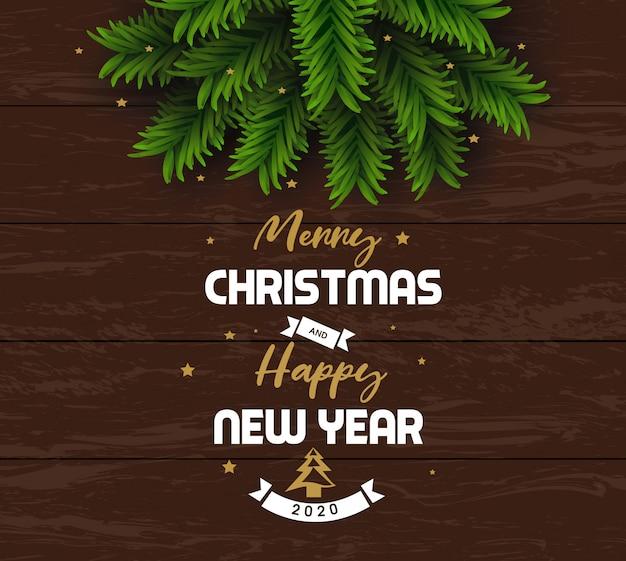 Wesołych świąt i szczęśliwego nowego roku 2020 kartkę z życzeniami Premium Wektorów