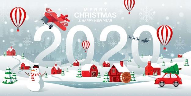 Wesołych świąt i szczęśliwego nowego roku 2020 miasto rodzinne w tle zimy forrest Premium Wektorów