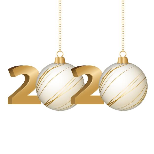 Wesołych świąt i szczęśliwego nowego roku 2020 Premium Wektorów