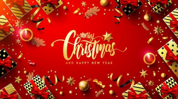 Wesołych świąt i szczęśliwego nowego roku czerwony plakat Premium Wektorów