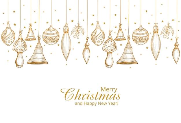 Wesołych świąt I Szczęśliwego Nowego Roku Karta Ze Złotą Dekoracją Darmowych Wektorów