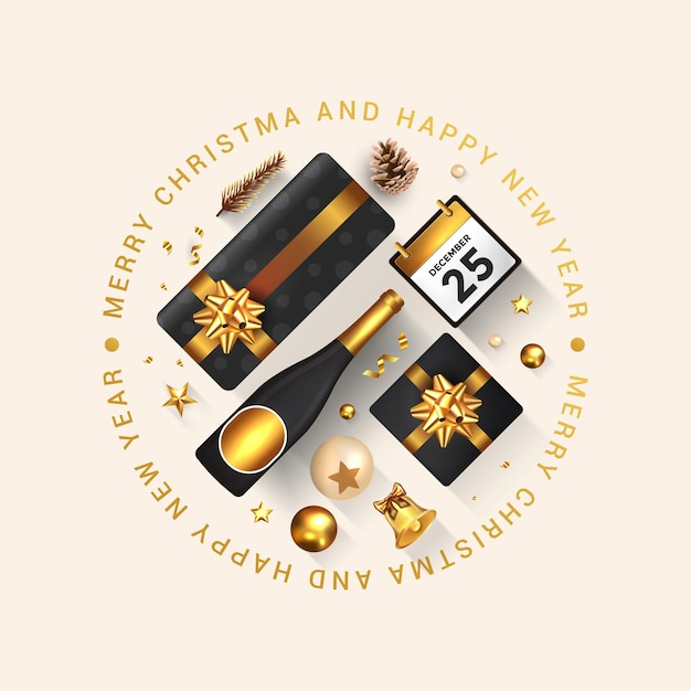 Wesołych świąt I Szczęśliwego Nowego Roku Kartkę Z życzeniami. Projekt świąteczny Udekoruj Pudełkiem, Złotymi Kulkami, Butelką Wina I Gwiazdą Na Jasnym Tle. Premium Wektorów