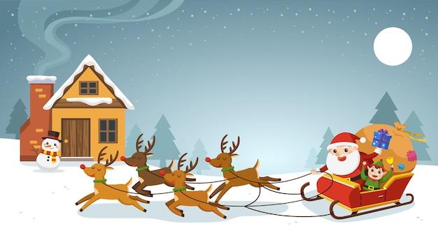 Wesołych świąt I Szczęśliwego Nowego Roku Kartkę Z życzeniami. święty Mikołaj Na Sankach Z Reniferami. Premium Wektorów