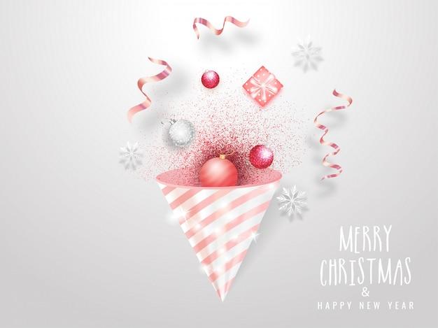 Wesołych świąt I Szczęśliwego Nowego Roku Kartkę Z życzeniami Z Popper Party, Bombki, śnieżynka I Pudełko Na Białym. Premium Wektorów
