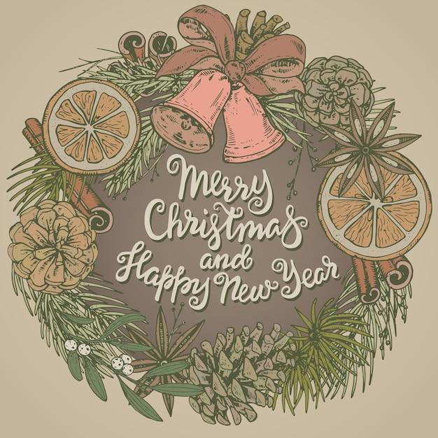 Wesołych świąt I Szczęśliwego Nowego Roku Kartkę Z życzeniami Z Ręcznie Rysowane Zimowe Rośliny Premium Wektorów