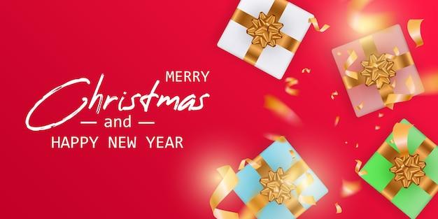 Wesołych świąt I Szczęśliwego Nowego Roku Karty. Baner świąteczny. Premium Wektorów