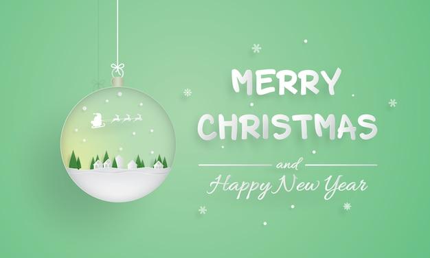 Wesołych świąt i szczęśliwego nowego roku, ornament Premium Wektorów