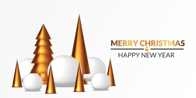 Wesołych świąt I Szczęśliwego Nowego Roku Plakat Szablon Transparent. 3d śnieżka I Złota Sosna Rzeźbimy Ilustrację Z Białym Tłem. Premium Wektorów
