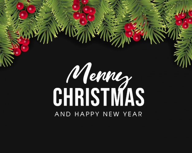 Wesołych świąt i szczęśliwego nowego roku projekt karty z pozdrowieniami Premium Wektorów