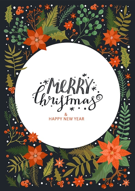 Wesołych świąt I Szczęśliwego Nowego Roku Ramki. Premium Wektorów