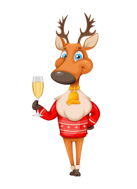 Wesołych świąt I Szczęśliwego Nowego Roku. śliczny Jeleń Premium Wektorów