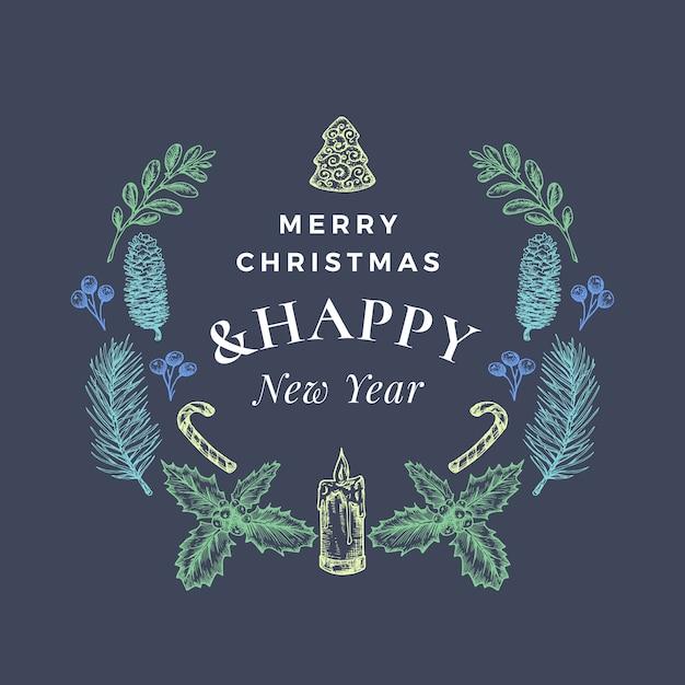 Wesołych świąt I Szczęśliwego Nowego Roku Streszczenie Kartkę Z życzeniami Lub Baner Z Wieńcem Bożonarodzeniowym I Retro Typografii Darmowych Wektorów